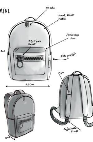 mini sketch backapck zipper bags